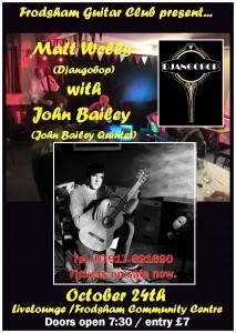 The Frodsham Guitar Club present Matt Wells (Djangobop) with John Bailey (john Bailey Quintet) @ LiveLounge, Frodsham Community Centre