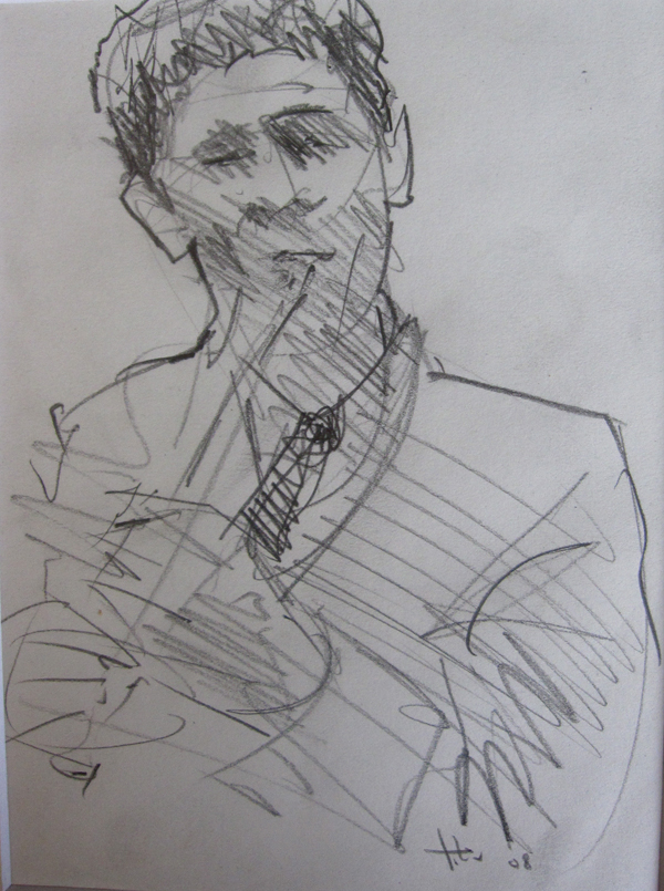 "Drawing by Tony Green - ""GHEORGHE FALCARU, TARAF DE HAIDOUKS"""