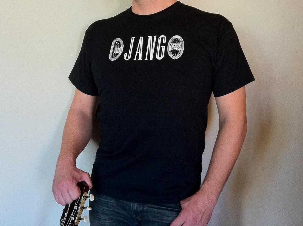 "Distressed ""DJANGO"" Gypsy Jazz Black T-Shirt"