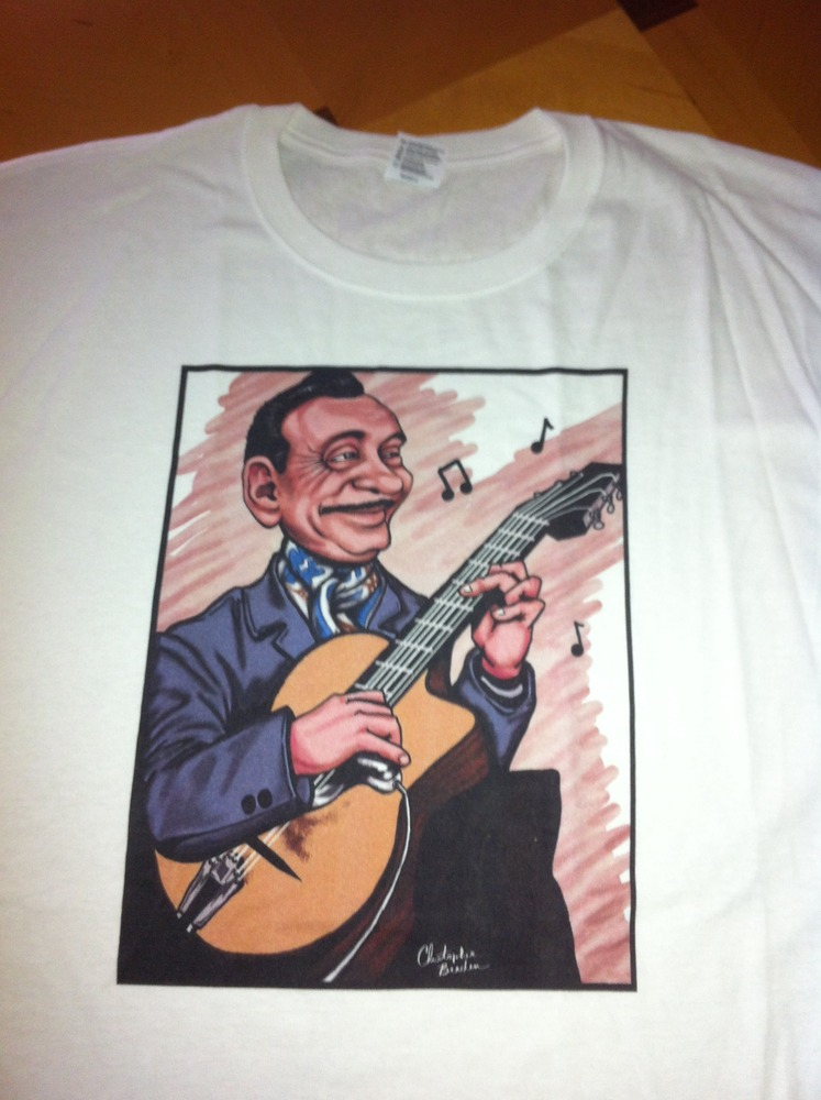 Limited edition django reinhardt full color caricature for Entire book on shirt