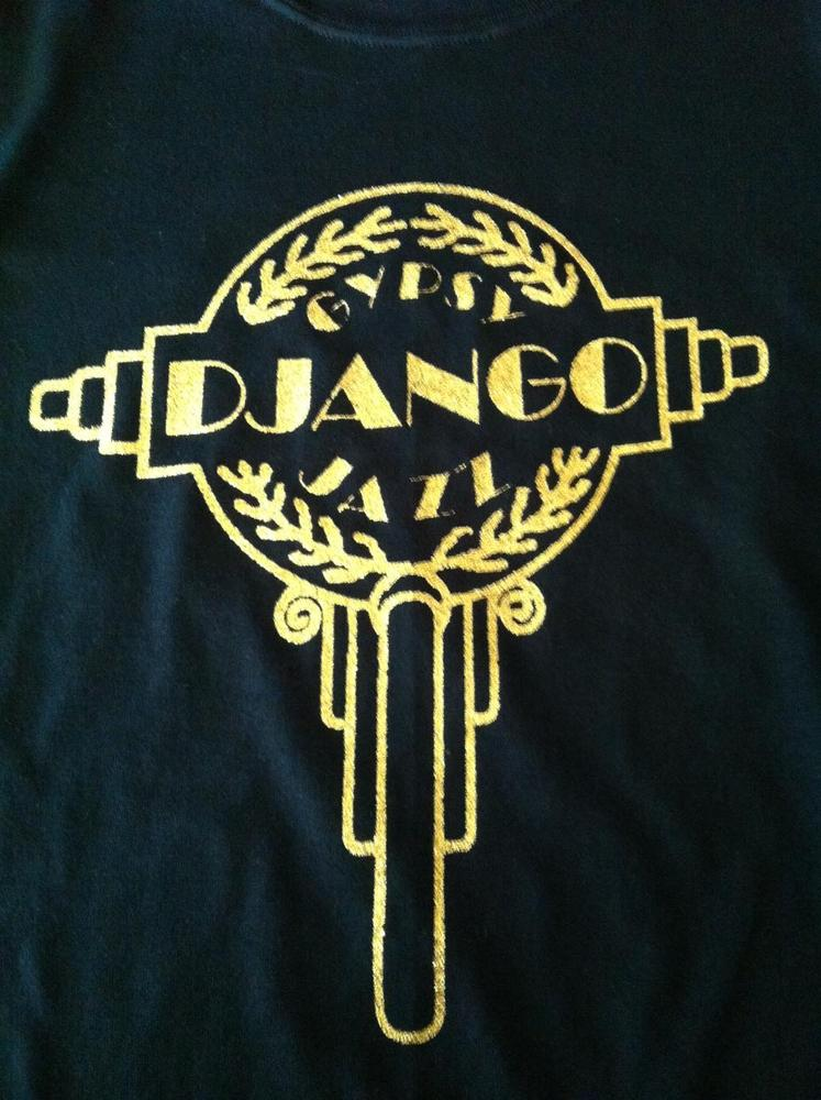 "Gold Glitter Headstock Logo Style ""Django"" and ""Gypsy Jazz"" Black T-Shirt"