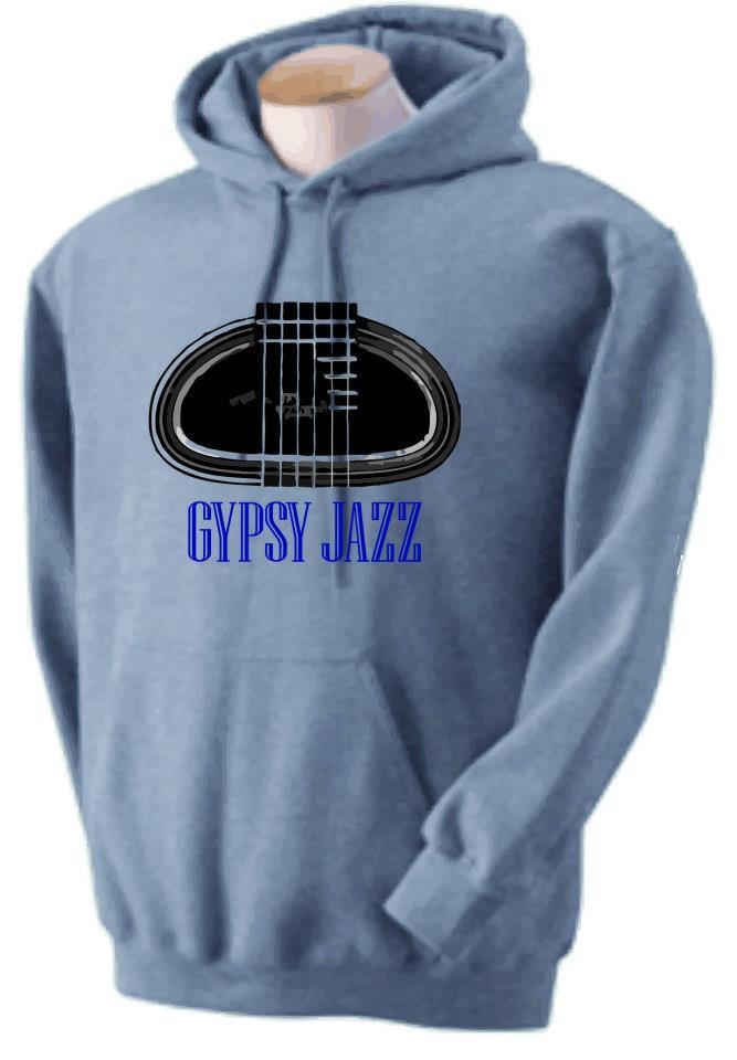 "D Hole ""Grande Bouche"" and ""Gypsy Jazz"" Grey Pullover Hoodie"