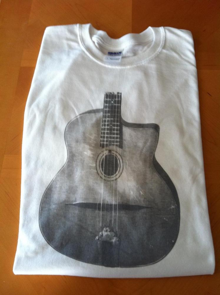 Women's Distressed Gypsy Jazz Guitar Body White T-Shirt