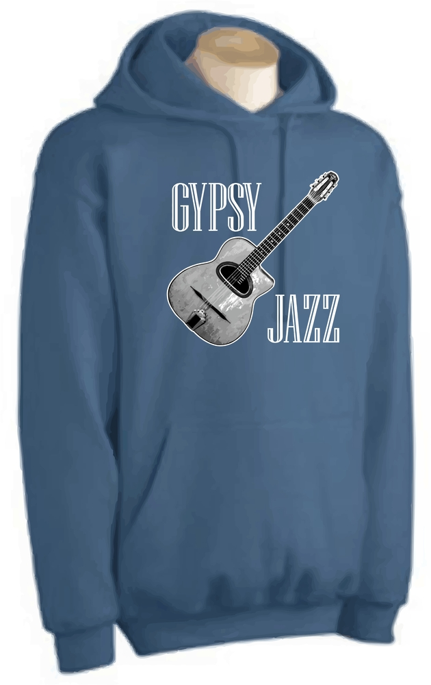 """Gypsy Jazz"" And Selmer Maccaferri Style Guitar Pullover Hoodie"
