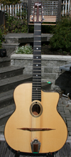 USED 2006 DELL'ARTE OVAL HOLE HOMMAGE GUITAR (INDIAN ROSEWOOD BACK AND SIDES) WITH JUMBO FIBERGLASS CASE