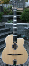 DELL'ARTE OVAL HOLE HOMMAGE GUITAR (ENRICO MACIAS MODELE - EUROPEAN MAPLE BACK AND SIDES) WITH HARDSHELL CASE